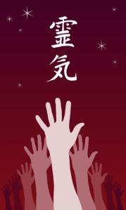 Reiki kanji and hands